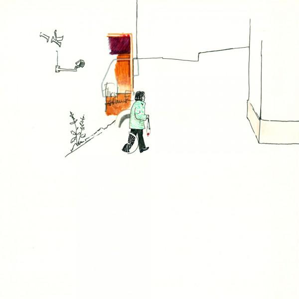 um die ecke, 30 x 30 cm, 2012, mixed media